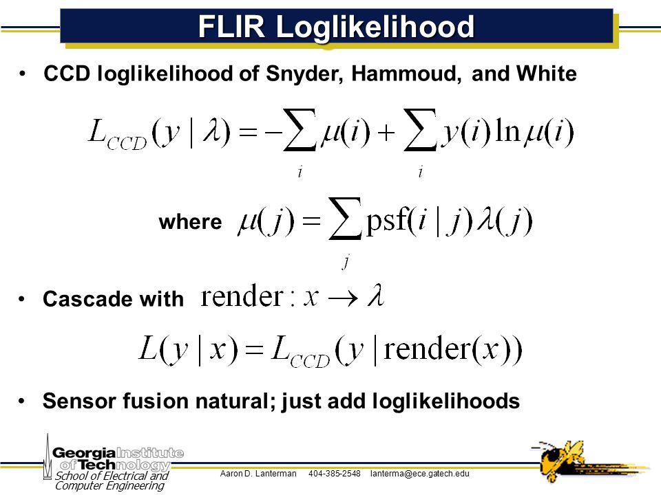 Aaron D. Lanterman 404-385-2548 lanterma@ece.gatech.edu School of Electrical and Computer Engineering FLIR Loglikelihood CCD loglikelihood of Snyder,