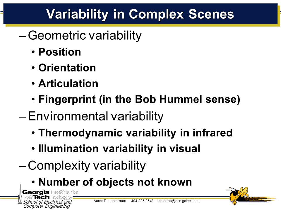 Aaron D. Lanterman 404-385-2548 lanterma@ece.gatech.edu School of Electrical and Computer Engineering Variability in Complex Scenes –Geometric variabi