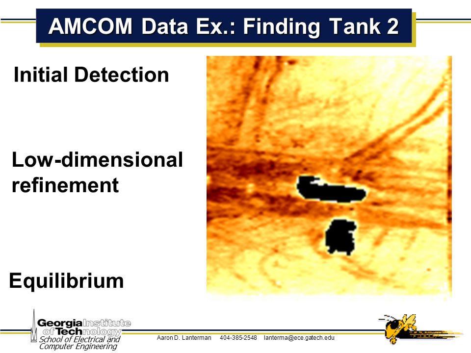 Aaron D. Lanterman 404-385-2548 lanterma@ece.gatech.edu School of Electrical and Computer Engineering Initial Detection AMCOM Data Ex.: Finding Tank 2