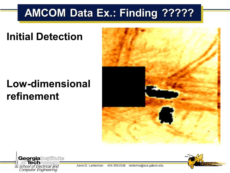 Aaron D. Lanterman 404-385-2548 lanterma@ece.gatech.edu School of Electrical and Computer Engineering AMCOM Data Ex.: Finding ????? Initial Detection