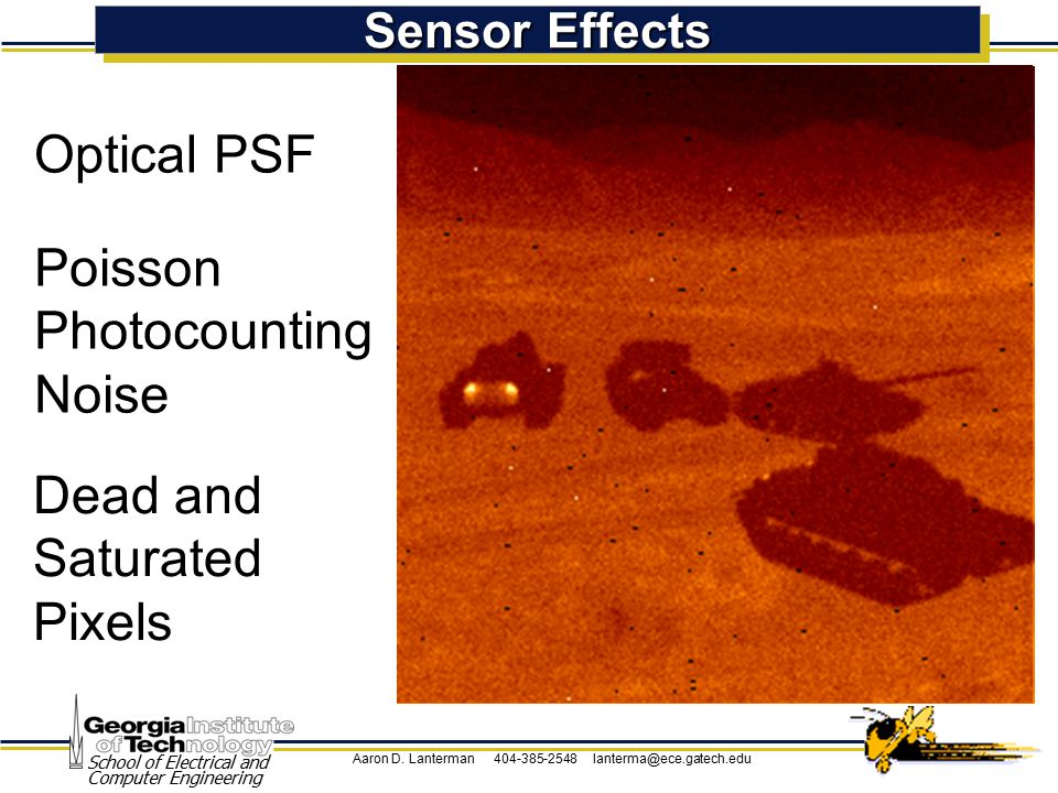 Aaron D. Lanterman 404-385-2548 lanterma@ece.gatech.edu School of Electrical and Computer Engineering Sensor Effects Optical PSF Poisson Photocounting