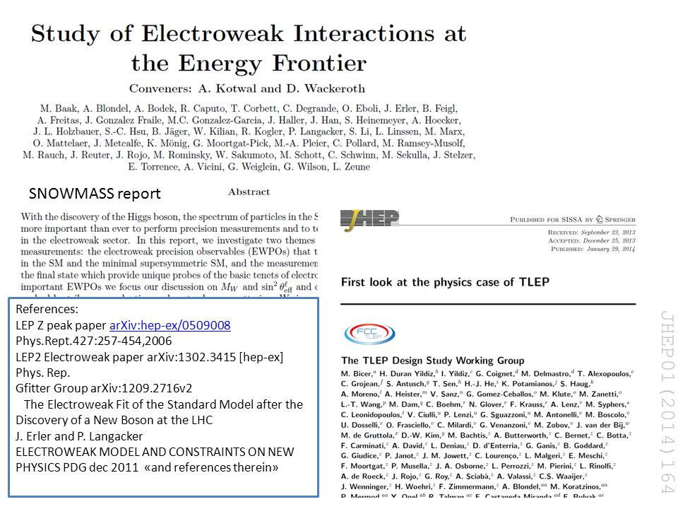 15 July 2015 Alain Blondel Precision EW measurements at future accelerators 10 SNOWMASS report References: LEP Z peak paper arXiv:hep-ex/0509008 Phys.Rept.427:257-454,2006arXiv:hep-ex/0509008 LEP2 Electroweak paper arXiv:1302.3415 [hep-ex] Phys.