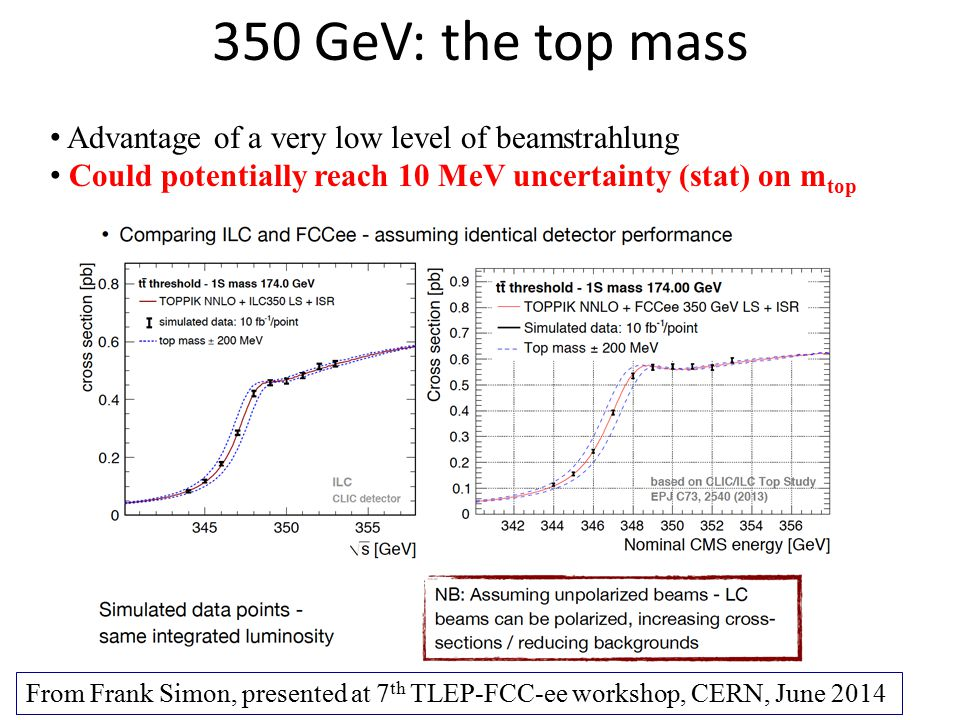 350 GeV: the top mass Advantage of a very low level of beamstrahlung Could potentially reach 10 MeV uncertainty (stat) on m top From Frank Simon, pres