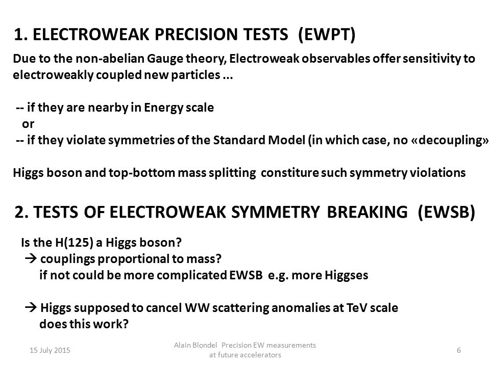 15 July 2015 Alain Blondel Precision EW measurements at future accelerators 6 Due to the non-abelian Gauge theory, Electroweak observables offer sensi