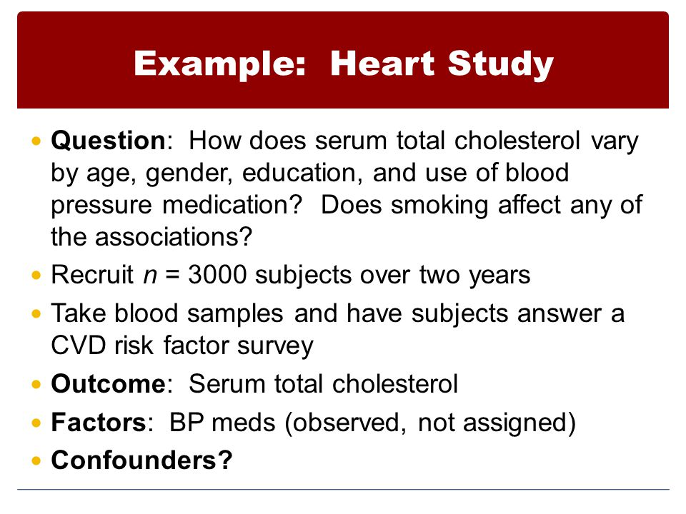 Example: Heart Study Question: How does serum total cholesterol vary by age, gender, education, and use of blood pressure medication? Does smoking aff