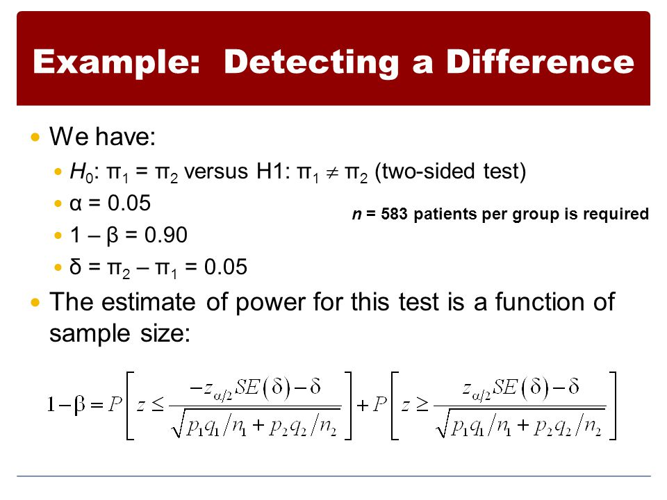 Example: Detecting a Difference We have: H 0 : π 1 = π 2 versus H1: π 1  π 2 (two-sided test) α = 0.05 1 – β = 0.90 δ = π 2 – π 1 = 0.05 The estimate