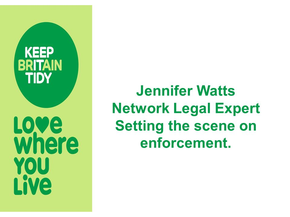 Jennifer Watts Network Legal Expert Setting the scene on enforcement.