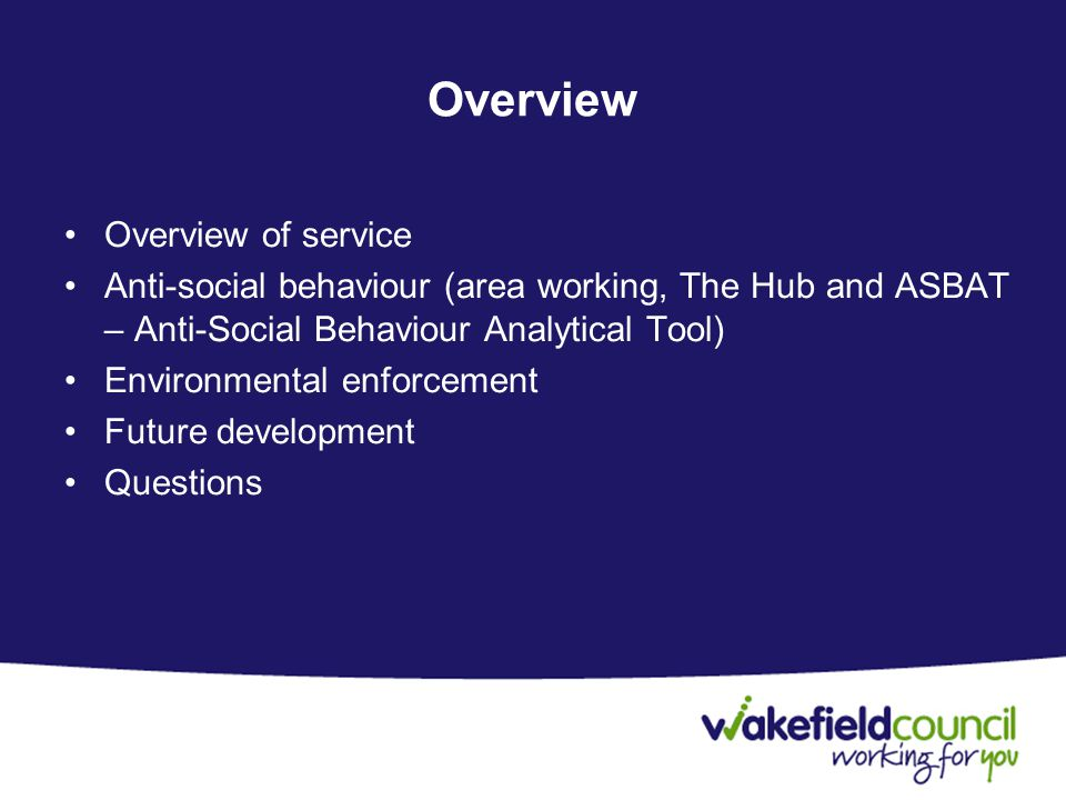 Overview Overview of service Anti-social behaviour (area working, The Hub and ASBAT – Anti-Social Behaviour Analytical Tool) Environmental enforcement Future development Questions