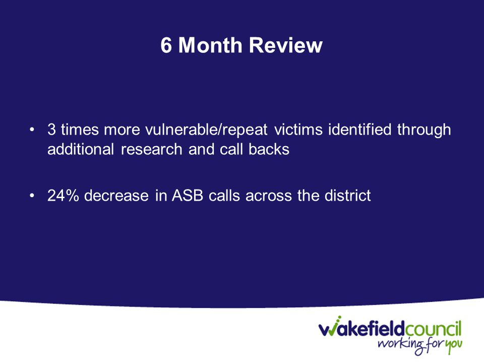 6 Month Review 3 times more vulnerable/repeat victims identified through additional research and call backs 24% decrease in ASB calls across the district