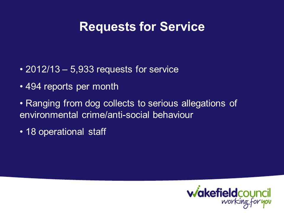 Requests for Service 2012/13 – 5,933 requests for service 494 reports per month Ranging from dog collects to serious allegations of environmental crime/anti-social behaviour 18 operational staff