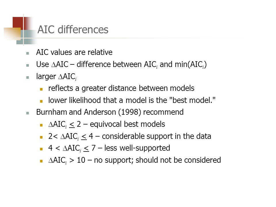AIC differences AIC values are relative Use  AIC – difference between AIC i and min(AIC i ) larger  AIC i reflects a greater distance between models lower likelihood that a model is the best model. Burnham and Anderson (1998) recommend  AIC i < 2 – equivocal best models 2<  AIC i < 4 – considerable support in the data 4 <  AIC i < 7 – less well-supported  AIC i > 10 – no support; should not be considered
