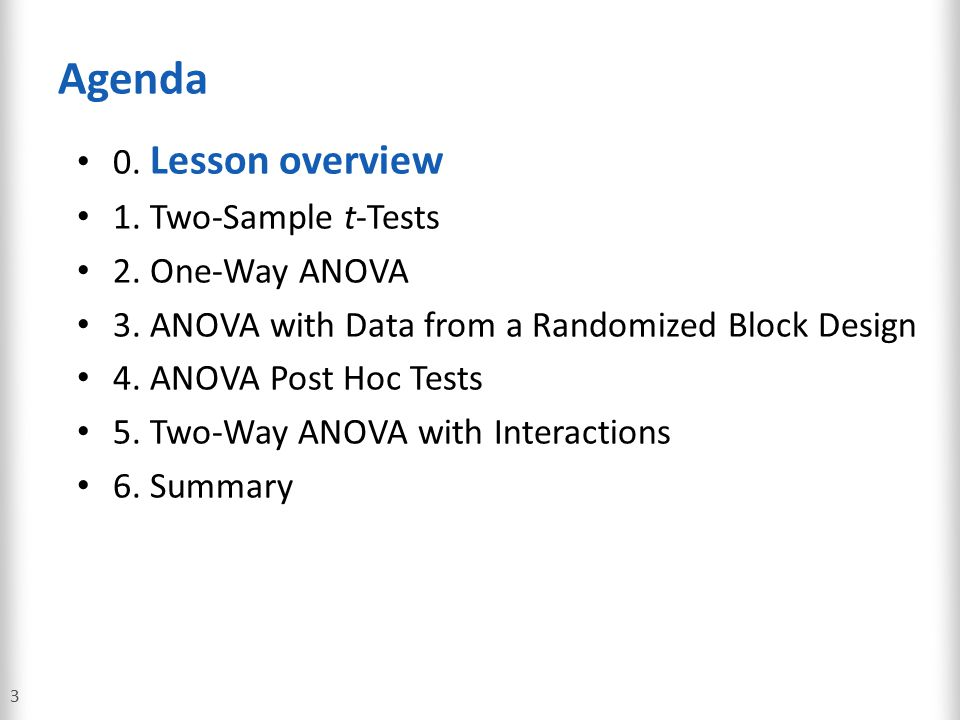 ANOVA with Data from a Randomized Block Design 84 Scenario: Creating a Randomized Block Design