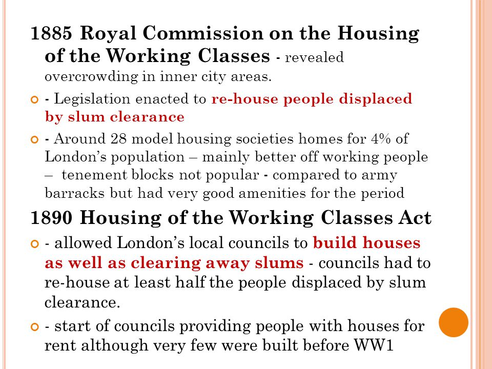 1885 Royal Commission on the Housing of the Working Classes - revealed overcrowding in inner city areas.