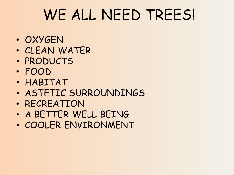 WE ALL NEED TREES.