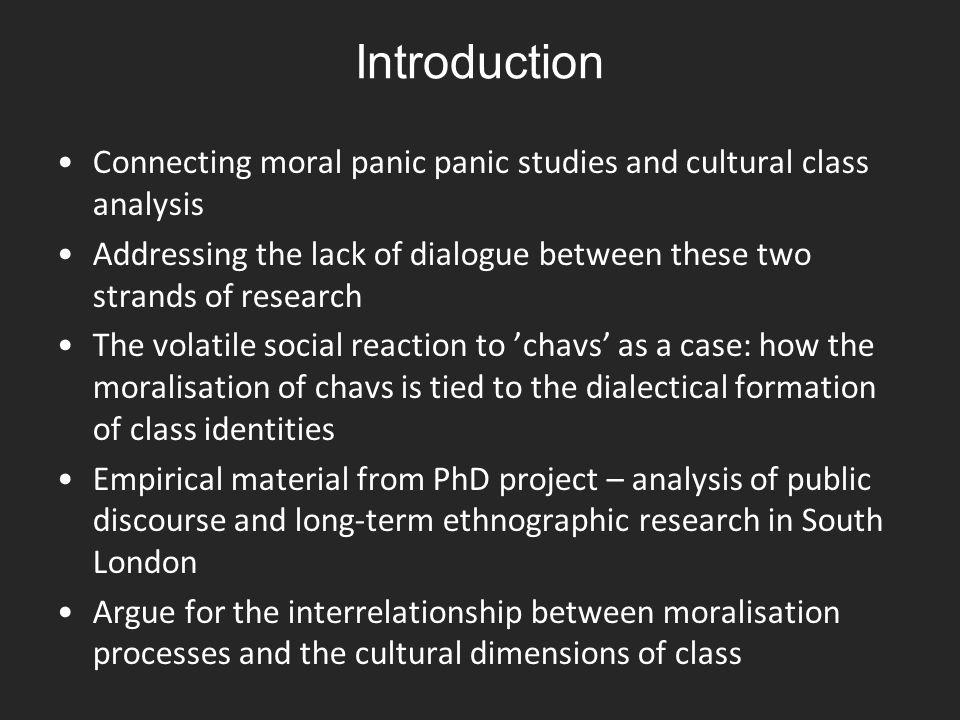 Moral panic analysis and the sociology of moralisation Moral panics are usually conceived as a sudden, hostile and widespread social reaction over the behaviour of a person or group that are seen to threaten deeply held values – the moral order of society – and thus cast as 'folk devils' (cf.