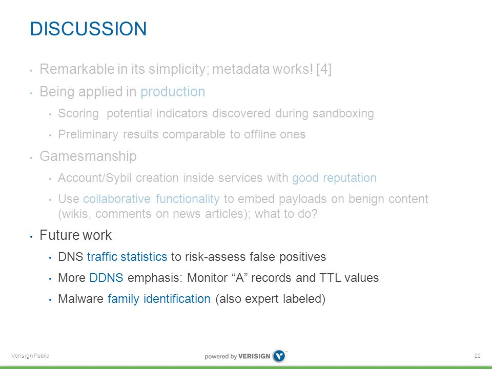 Verisign Public DISCUSSION Remarkable in its simplicity; metadata works.