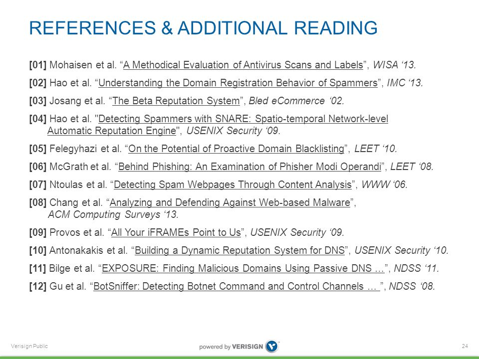 Verisign Public REFERENCES & ADDITIONAL READING [01] Mohaisen et al.