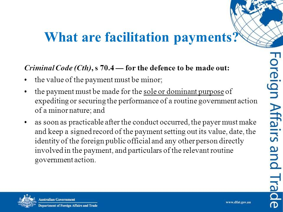 What are facilitation payments.