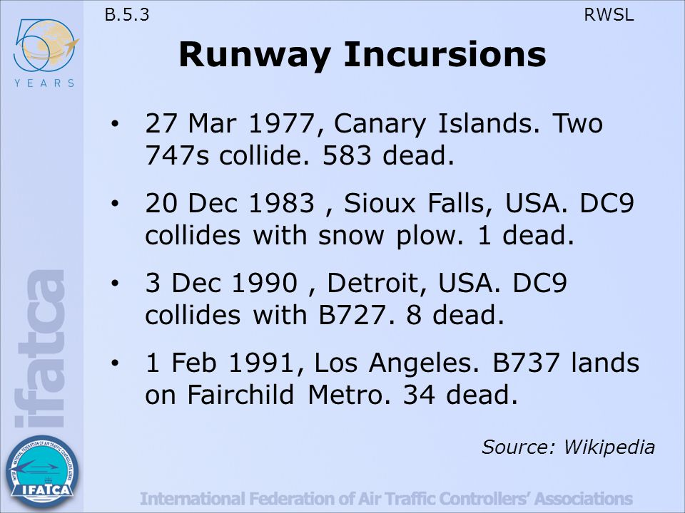 B.5.3 RWSL Runway Incursions (cont'd) 8 Oct 2001.MD87 collides with Citation, Milan.
