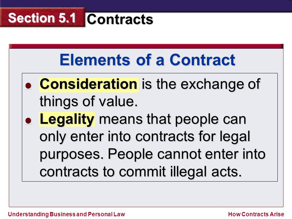 Understanding Business and Personal Law Contracts Section 5.1 How Contracts Arise Consideration is the exchange of things of value. Legality means tha
