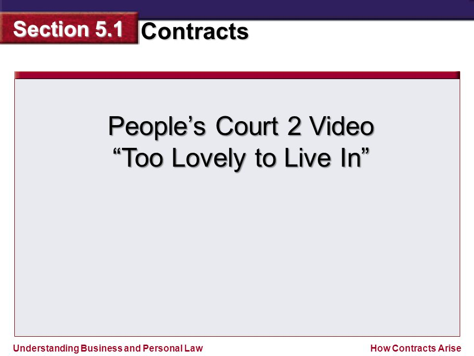 """Understanding Business and Personal Law Contracts Section 5.1 How Contracts Arise People's Court 2 Video """"Too Lovely to Live In"""""""