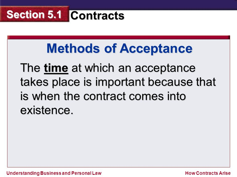 Understanding Business and Personal Law Contracts Section 5.1 How Contracts Arise The time at which an acceptance takes place is important because tha