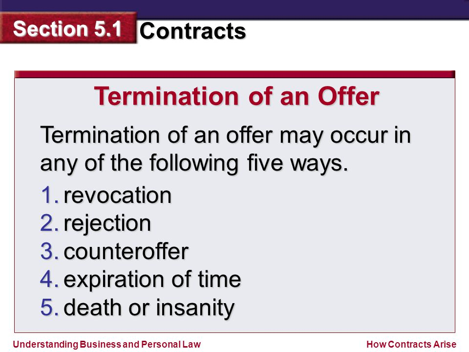 Understanding Business and Personal Law Contracts Section 5.1 How Contracts Arise Termination of an offer may occur in any of the following five ways.