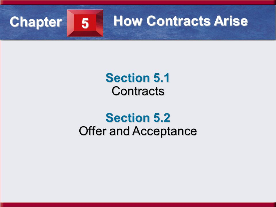 Understanding Business and Personal Law Contracts Section 5.1 How Contracts Arise Section 5.1 Contracts Section 5.2 Offer and Acceptance 5 Chapter How