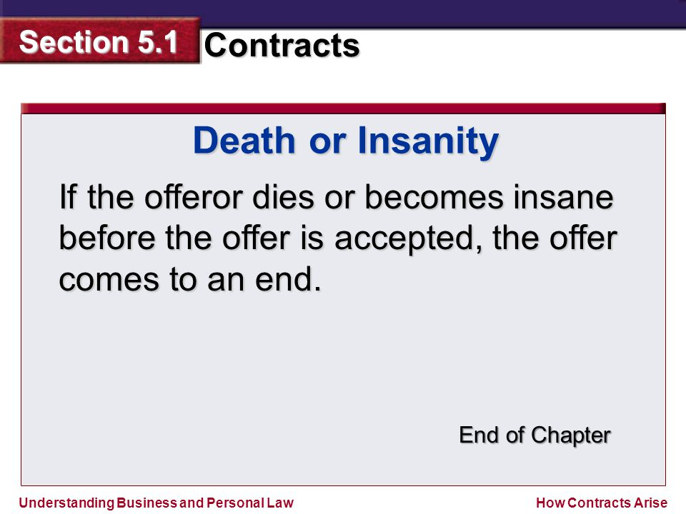 Understanding Business and Personal Law Contracts Section 5.1 How Contracts Arise If the offeror dies or becomes insane before the offer is accepted,