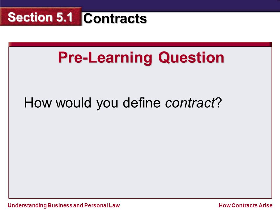 Understanding Business and Personal Law Contracts Section 5.1 How Contracts Arise Pre-Learning Question How would you define contract?