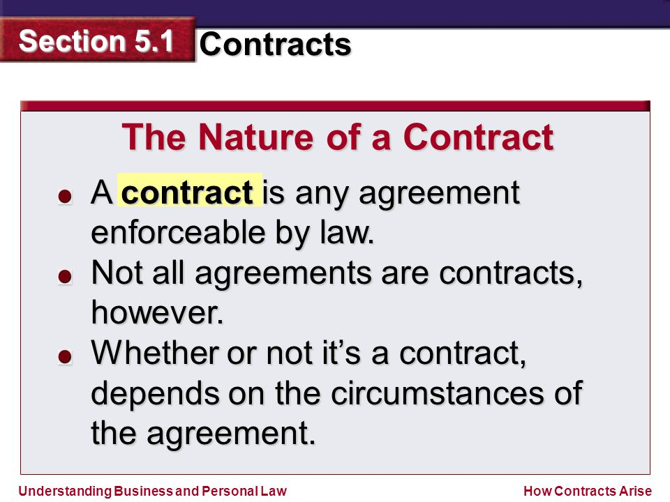 Understanding Business and Personal Law Contracts Section 5.1 How Contracts Arise A contract is any agreement enforceable by law. Not all agreements a