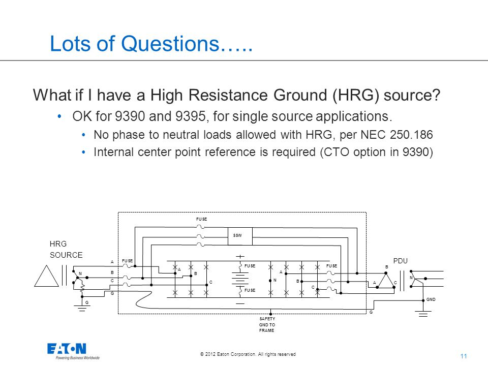 11 © 2012 Eaton Corporation. All rights reserved. Lots of Questions….. What if I have a High Resistance Ground (HRG) source? OK for 9390 and 9395, for