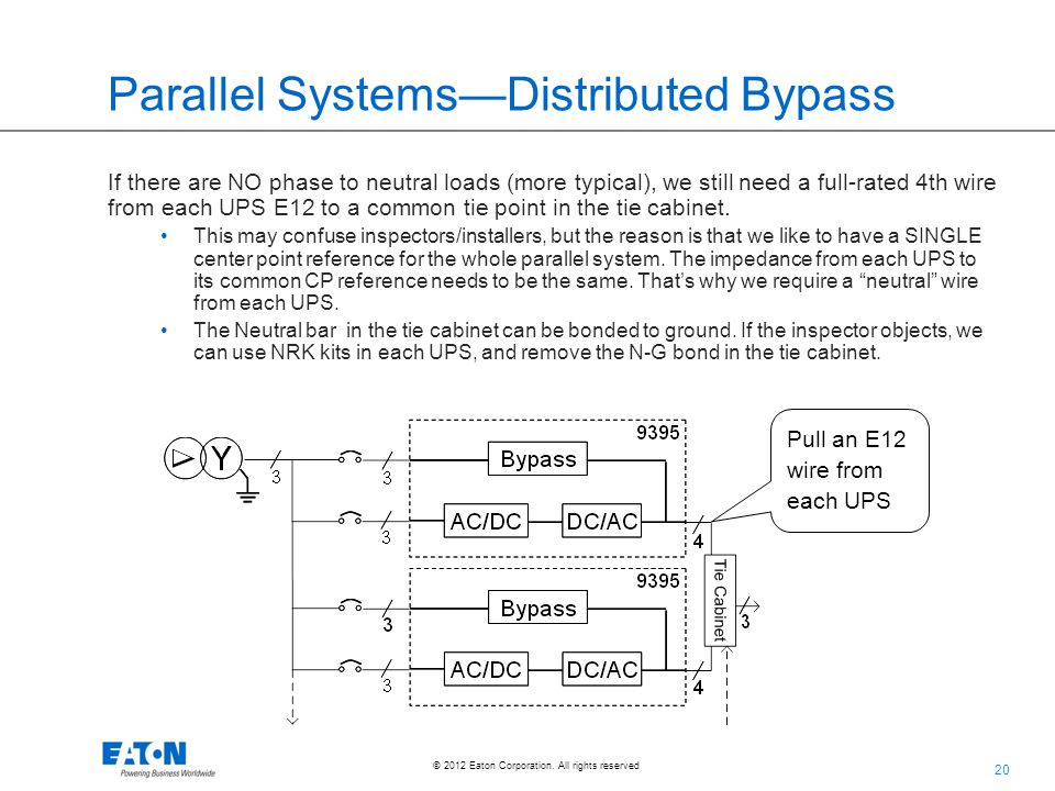 20 © 2012 Eaton Corporation. All rights reserved. Parallel Systems—Distributed Bypass If there are NO phase to neutral loads (more typical), we still