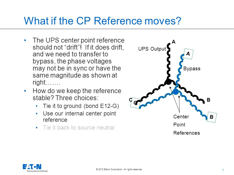 """7 © 2012 Eaton Corporation. All rights reserved. What if the CP Reference moves? The UPS center point reference should not """"drift""""! If it does drift,"""