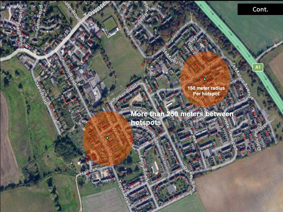 Cont. 150 meter radius Per hotspot More than 250 meters between hotspots