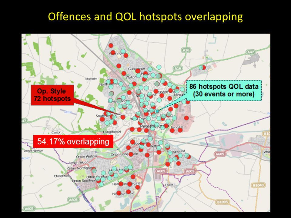 Offences and QOL hotspots overlapping 54.17% overlapping