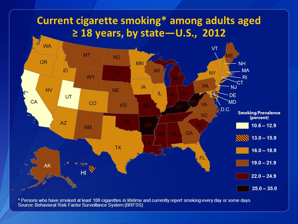 Current cigarette smoking* among adults aged ≥ 18 years, by state—U.S., 2012 * Persons who have smoked at least 100 cigarettes in lifetime and currently report smoking every day or some days.