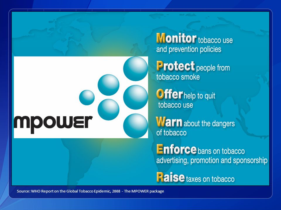 MPOWER Source: WHO Report on the Global Tobacco Epidemic, 2008 - The MPOWER package.