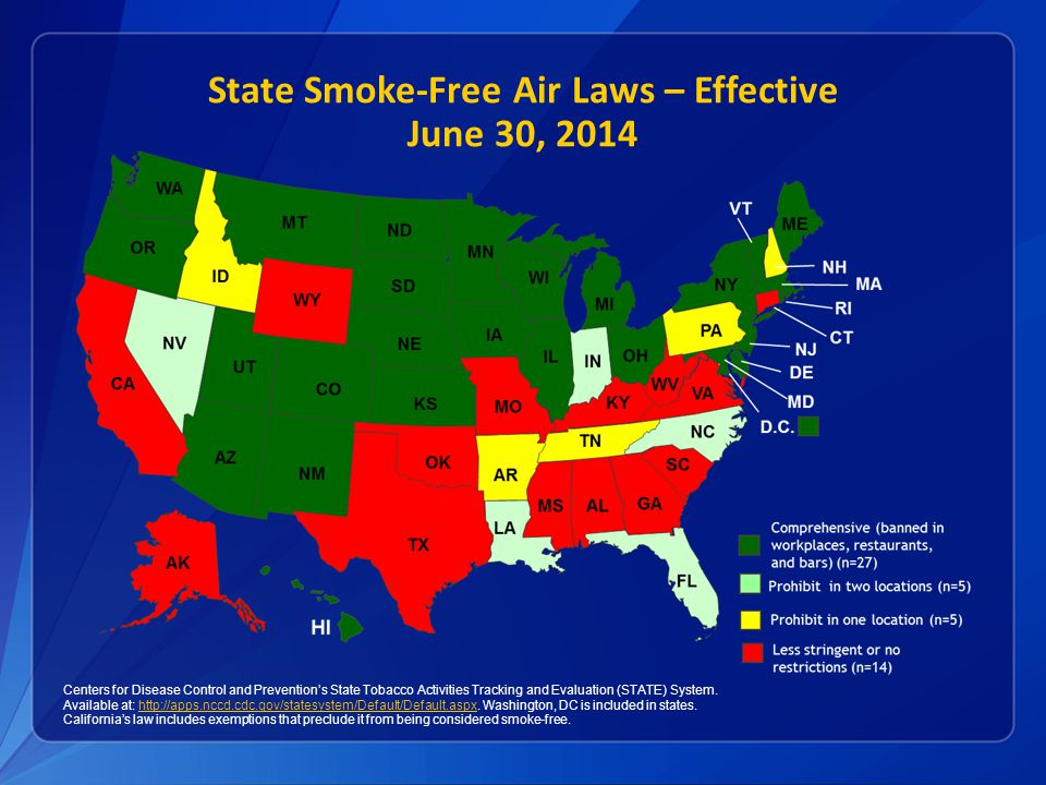 State Smoke-Free Air Laws – Effective June 30, 2014 Centers for Disease Control and Prevention's State Tobacco Activities Tracking and Evaluation (STATE) System.