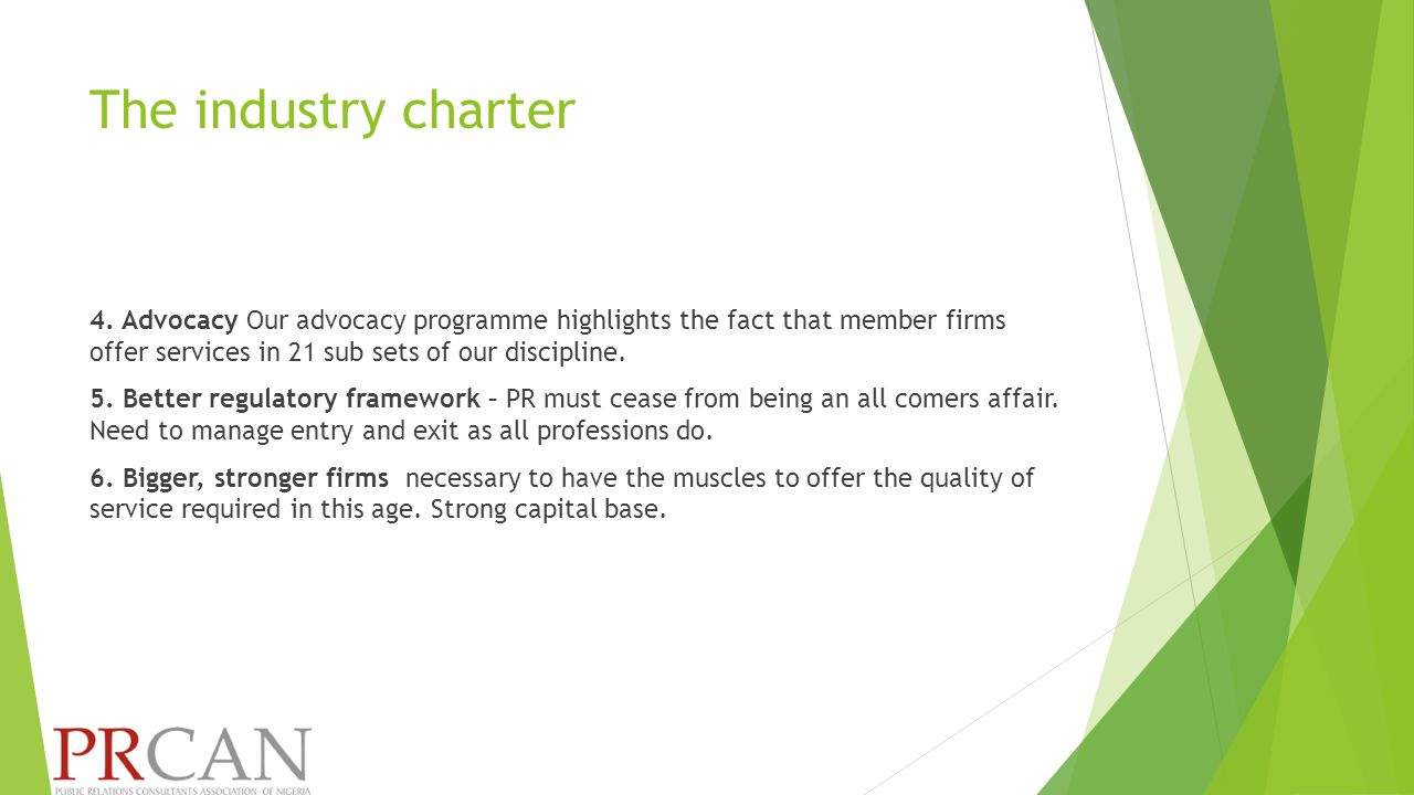 The industry charter 4.