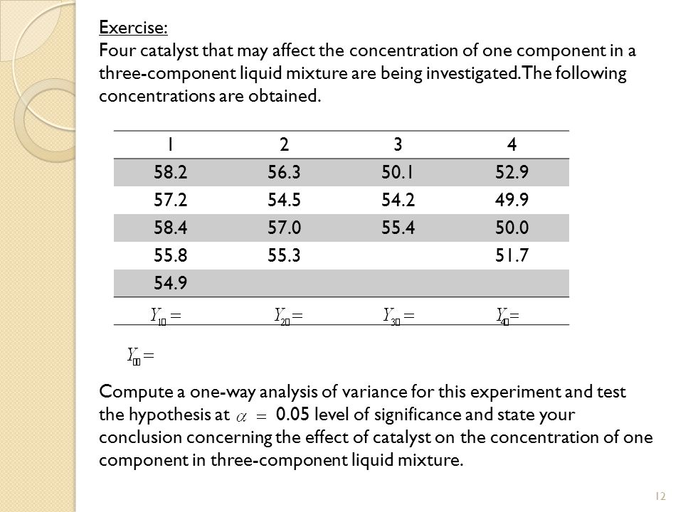 Exercise: Four catalyst that may affect the concentration of one component in a three-component liquid mixture are being investigated. The following c