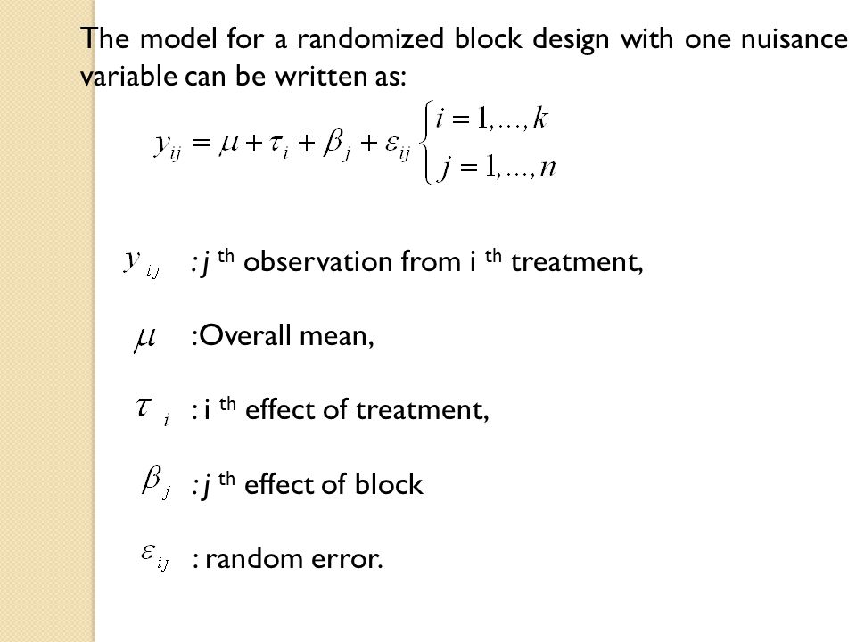 The model for a randomized block design with one nuisance variable can be written as: : j th observation from i th treatment, :Overall mean, : i th ef