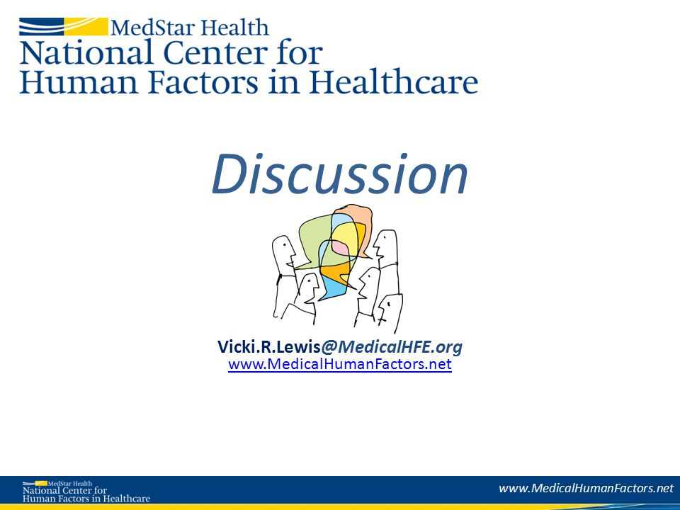 Discussion Vicki.R.Lewis@MedicalHFE.org www.MedicalHumanFactors.net