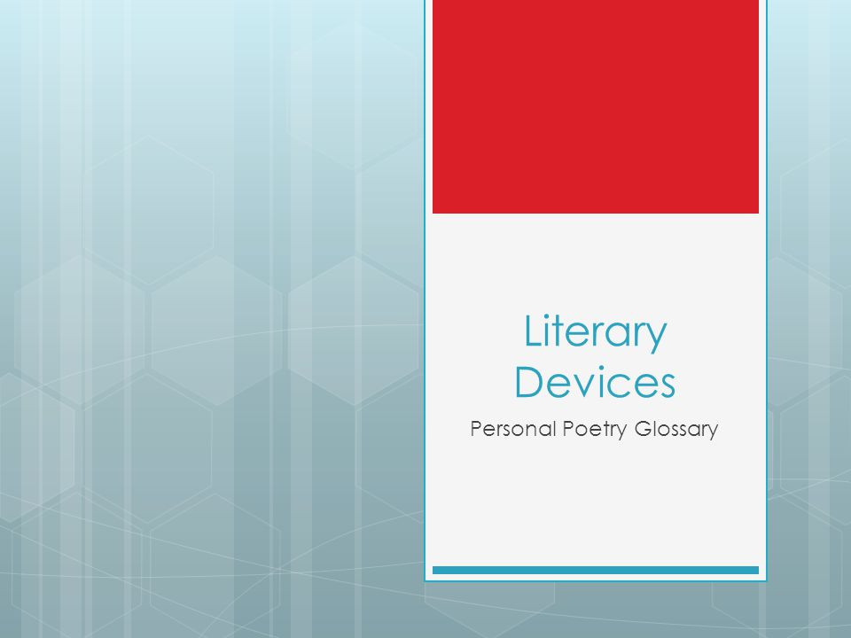 Literary Devices Personal Poetry Glossary