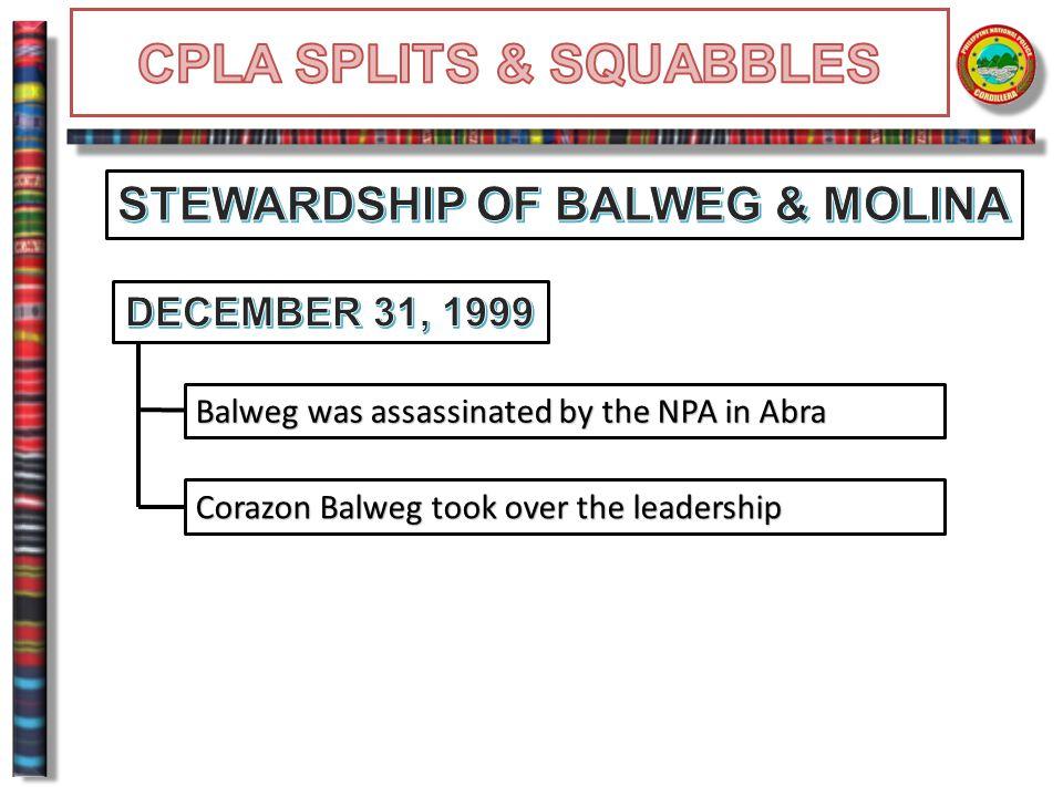Balweg was assassinated by the NPA in Abra Corazon Balweg took over the leadership
