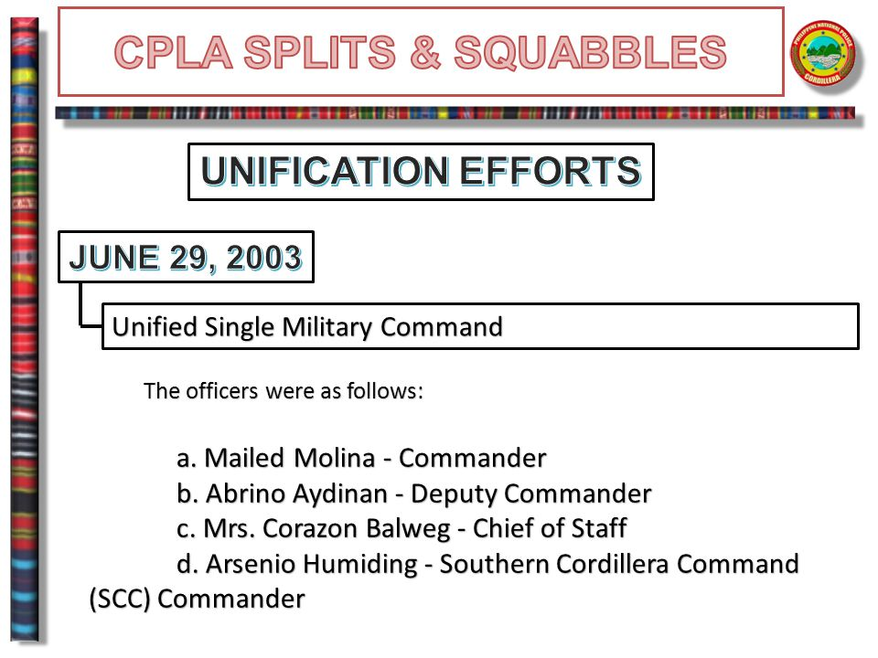 Unified Single Military Command The officers were as follows: The officers were as follows: a. Mailed Molina - Commander b. Abrino Aydinan - Deputy Co