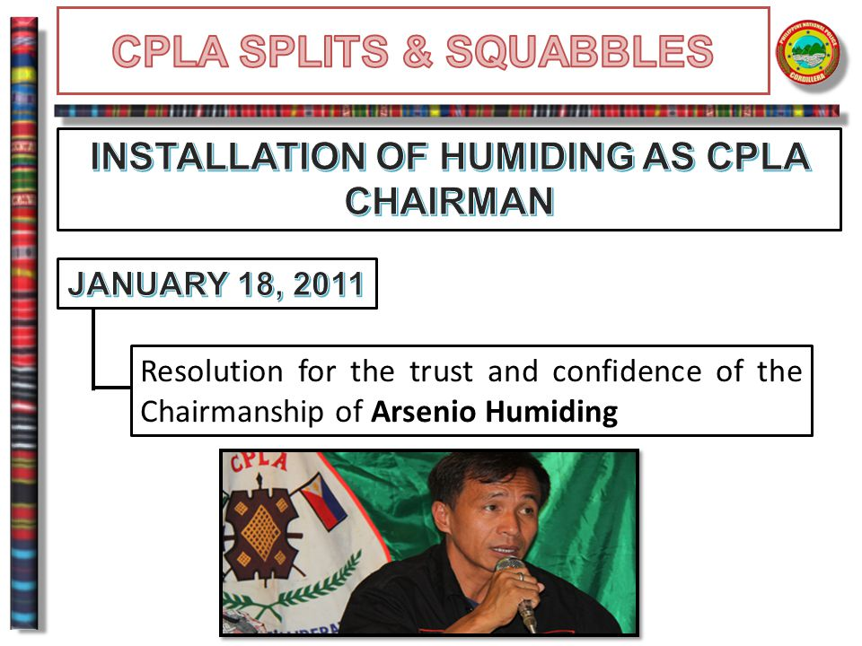 Resolution for the trust and confidence of the Chairmanship of Arsenio Humiding