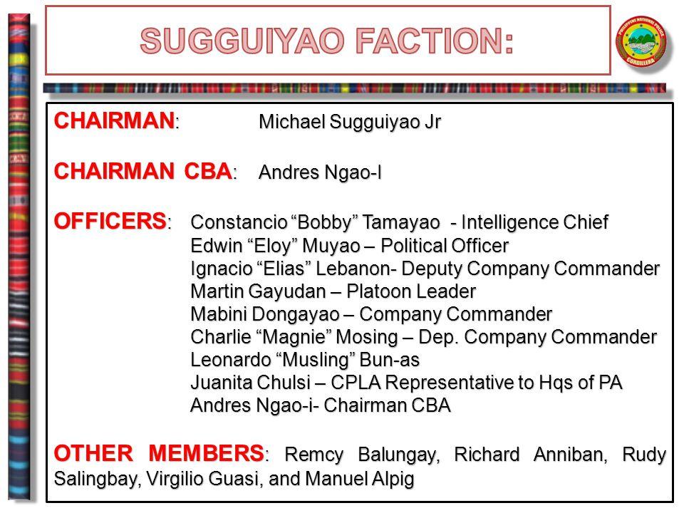 "CHAIRMAN : Michael Sugguiyao Jr CHAIRMAN CBA : Andres Ngao-I OFFICERS :Constancio ""Bobby"" Tamayao - Intelligence Chief Edwin ""Eloy"" Muyao – Political"