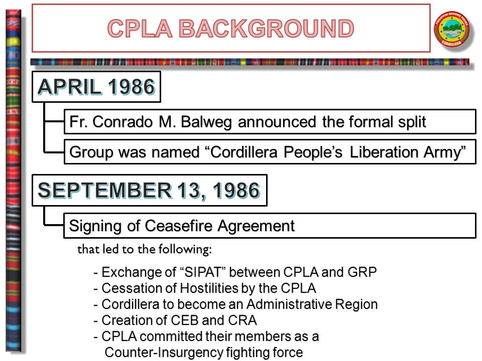 DEMAND :  MOA with GPH distinct from the Closure Agreement signed between Humiding's CFPDI and GPH Agreement signed between Humiding's CFPDI and GPHACTIVITIES:  Filed a petition with RTC Tabuk, Kalinga for the annulment of the Closure Agreement  Integration of 173 soldiers TURN-IN OF FIREARMS:  250 firearms were surrendered to 5ID PA