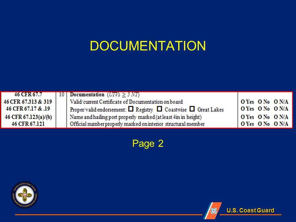 U.S. Coast Guard DOCUMENTATION Page 2